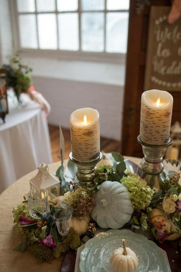 Table Decor for Autumn Wedding features our birch flickering flameless candles, our small lanterns,...