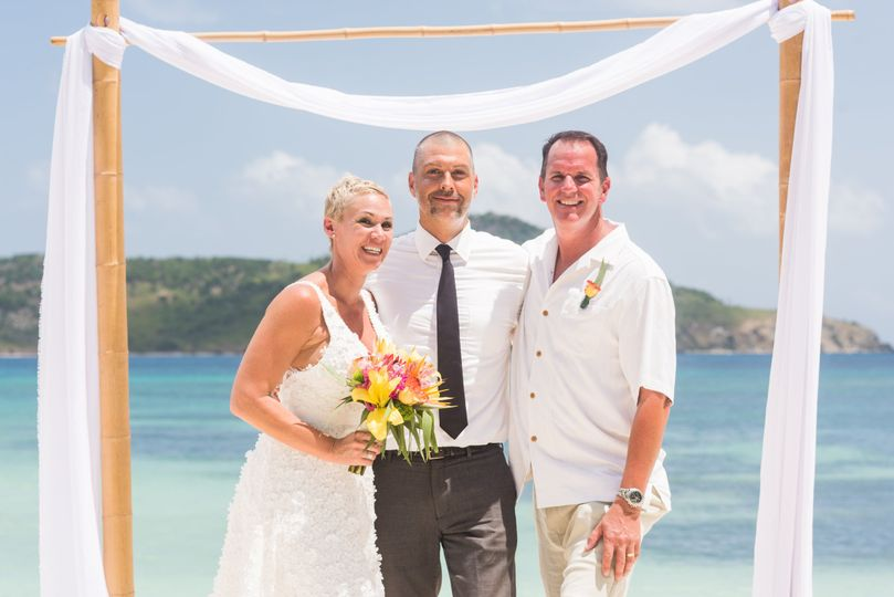 Elopement wedding on a beach.