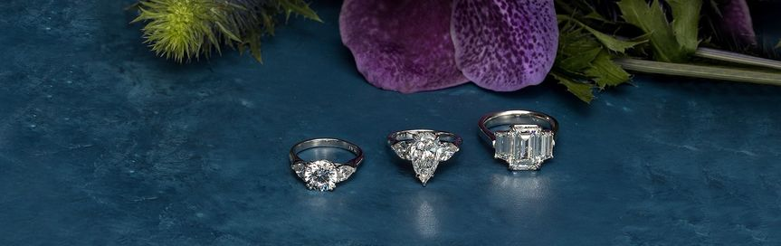 Three-stone ring collection