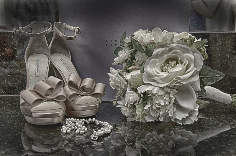 Hdr of shoes and flowers