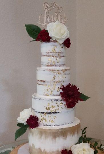 Naked wedding cake gold flecks