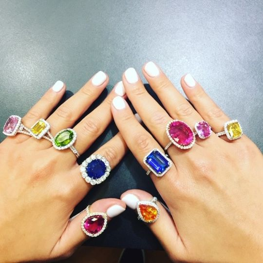 A variety of gemstone rings