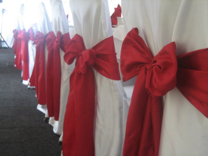 Red chair bows