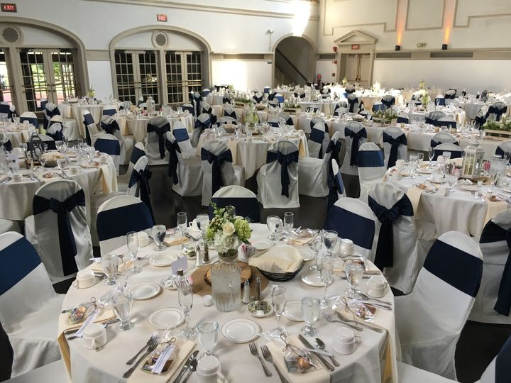 Table setting and navy chair bands