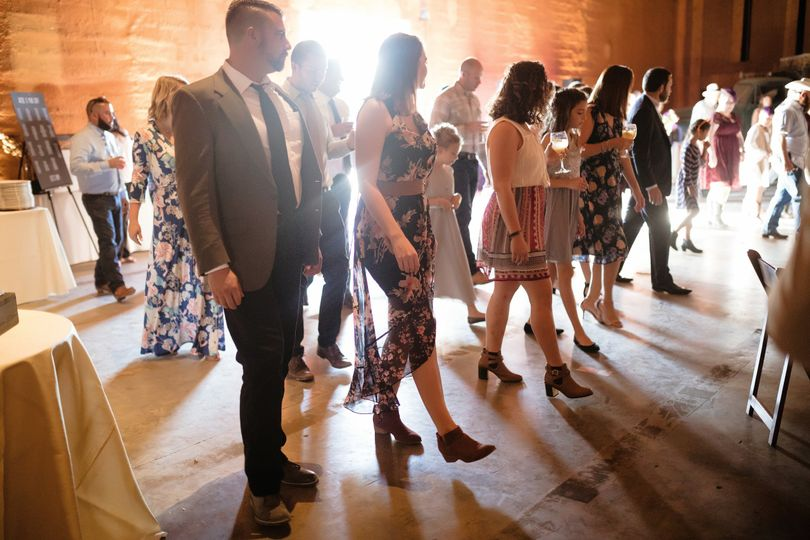 Indoor wedding line dancing