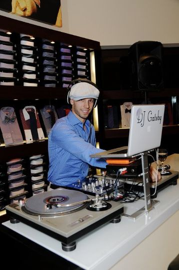 Spinning at the Thomas Pink flagship store during Fashion Night Out.