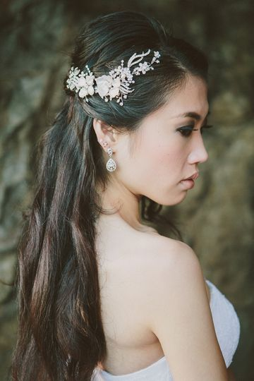 Rhinestone hair vine with Keishi Pearl flowers - flexible, lightweight, easy to bobby pin in place,...