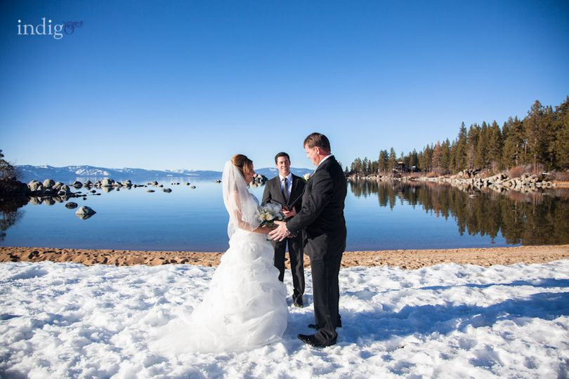 Snow day wedding by the lake