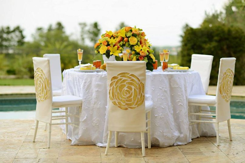 Table setting and yellow flowers