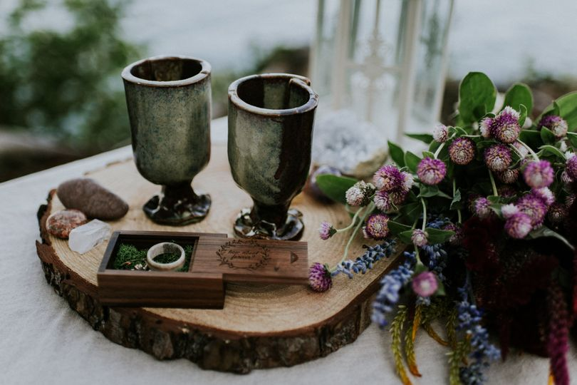 Rings with cacao goblets