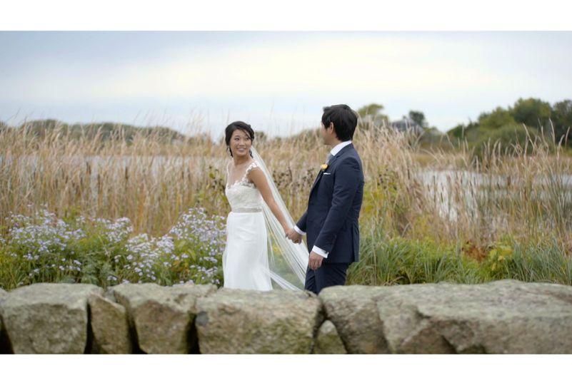 Lakeside couples portrait
