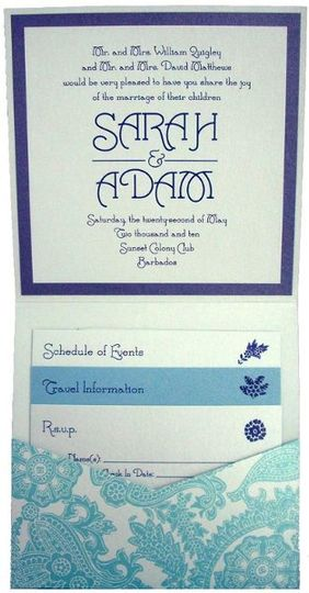 Aqua Blue Paisley Metallic Layered Pocketfold Wedding Invitation - Can also be made into...