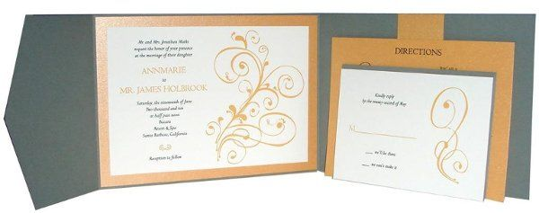 Topaz Stones Layered Pocked Folder Scroll Flourish Wedding Invitation with metallic papers - Can...