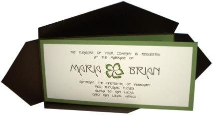 Nouveau Brown Green & Bronze Tropical Destination Wedding Invitation - Layered foldover with...