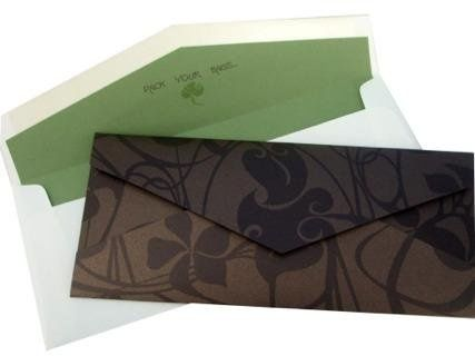 Nouveau Brown Green & Bronze Tropical Destination Wedding Invitation - Layered foldover folder, with...