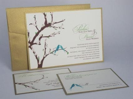 Cherry Blossom Branches & Bird - Metallic layered wedding invitation with pink flowers and blue...