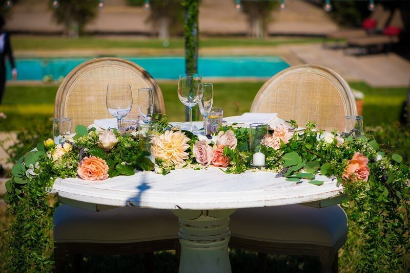 sweetheart table garland haute blossoms floral