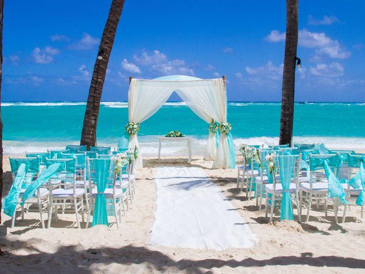 Blue beach wedding setup