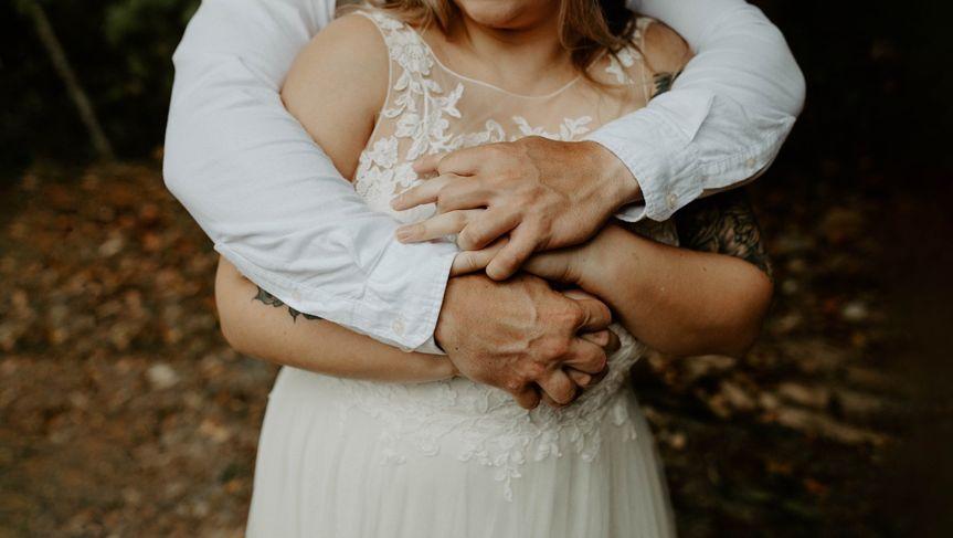 Embrace at an elopement