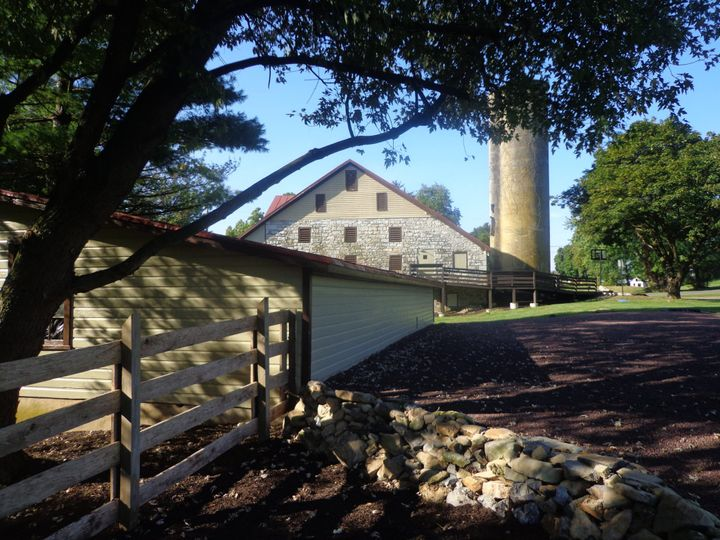 View of barn from patio