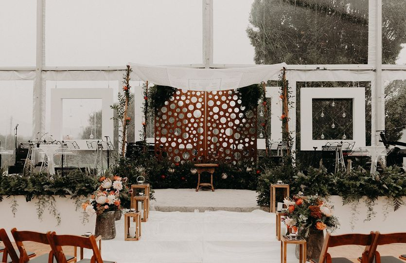 Ceremony setup and altar backdrop