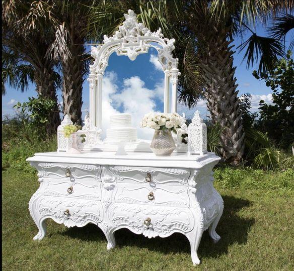Ornate White x-long Dresser