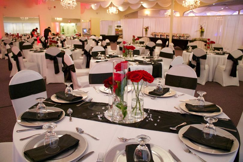 Black & red wedding reception