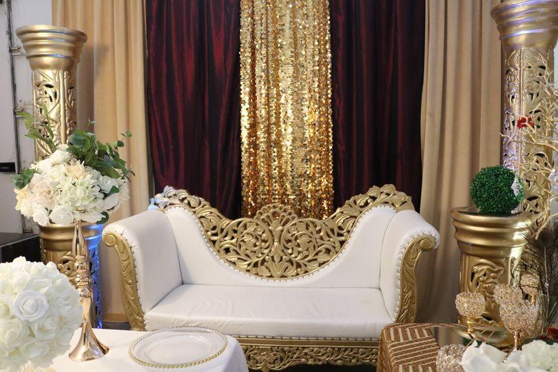 Gold Wooden Settee