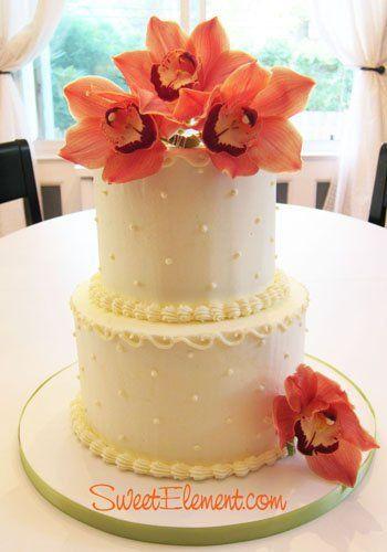 Tmx 1332532688380 2tierbuttercreamweddingcakeorangeorchids2 East Orange wedding cake