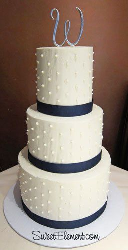 Tmx 1332532708522 Swissdotbuttercreamweddingcakenavybandsinitialtopper East Orange wedding cake