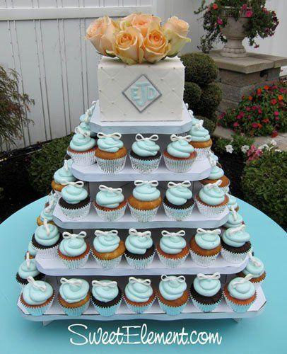 Tmx 1332535946812 Tiffanyblueandbowscupcaketower East Orange wedding cake