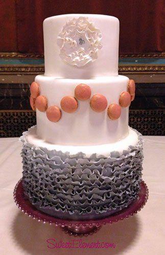 Tmx 1337274897558 Modernmarieantoinetteombrerufflemacaronweddingcake East Orange wedding cake