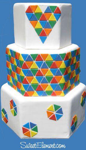 Tmx 1337274899089 Hexagonrainbowtrianglepixelweddingcake East Orange wedding cake