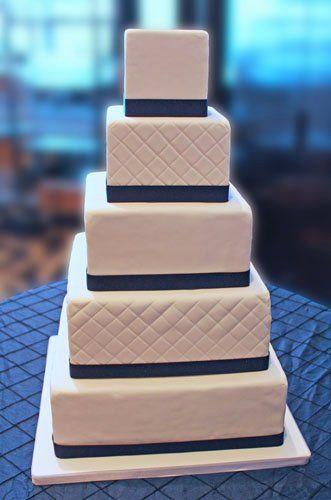 Tmx 1351892723647 Classicwhitesquarequiltedweddingcakenavyribbon East Orange wedding cake