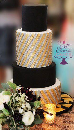 Tmx 1351892725164 Blacksilvergoldsequinweddingcake East Orange wedding cake