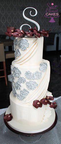 Tmx 1351892787413 Ivoryfabricinspiredpurplecallalilyweddingcake2 East Orange wedding cake