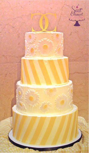 Tmx 1351892789978 Yellowdiagonalstripedaisybuttercreamweddingcake East Orange wedding cake