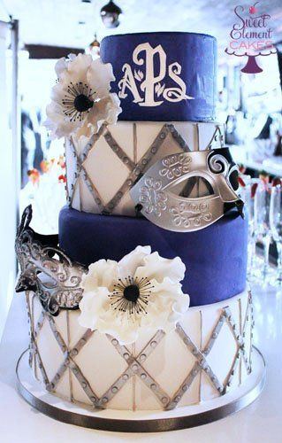 Tmx 1351892791648 Offsettierpurplewhitesilvermasqueradewhiteanemoneweddingcake East Orange wedding cake