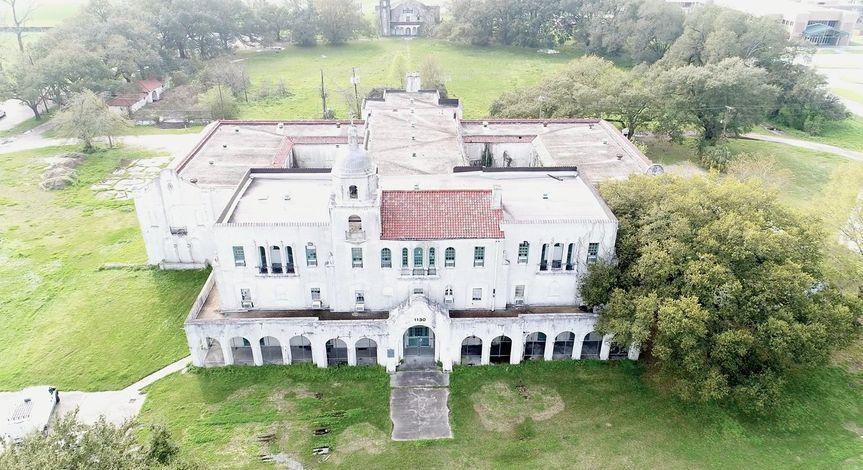 Aerial drone footage of venue