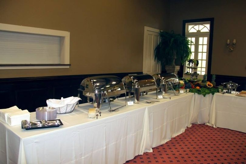 A Closer look of one side of the buffet table.  This table held the Brisket, Rice Dressing and Fried...