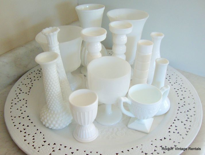 Milk glass is timeless and so versatile. We have a collection of over 40 unique vases with very few...