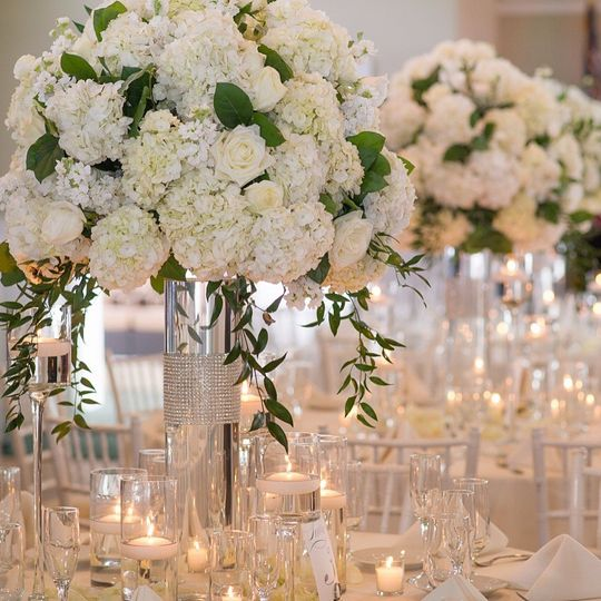 Beautiful all white ball arrangements