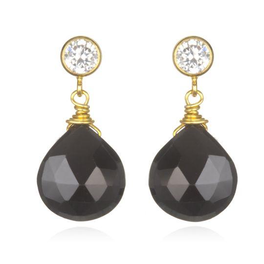 Amanda Rudey Laylie Earrings ~ Your choice of stone drop dangling beneath a CZ 18k vermeil post...