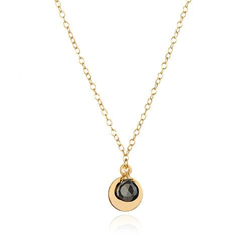 18k vermeil chain with your choice of stone sitting atop a 14k gold-filled disk.  Spotted from coast...