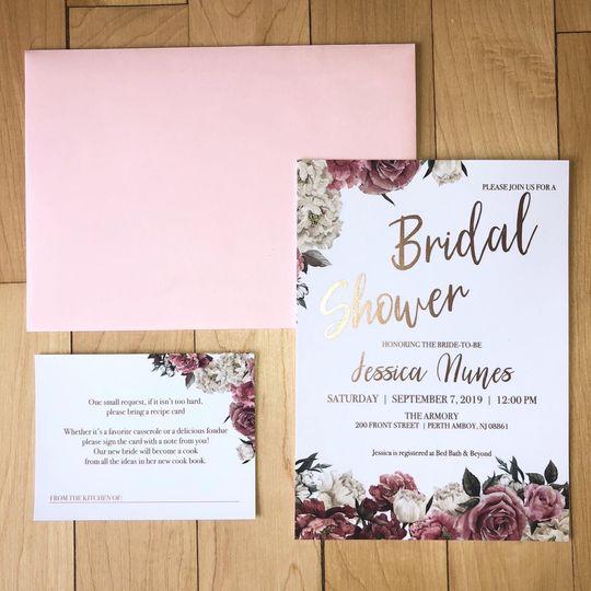 Rose gold bridal shower invite