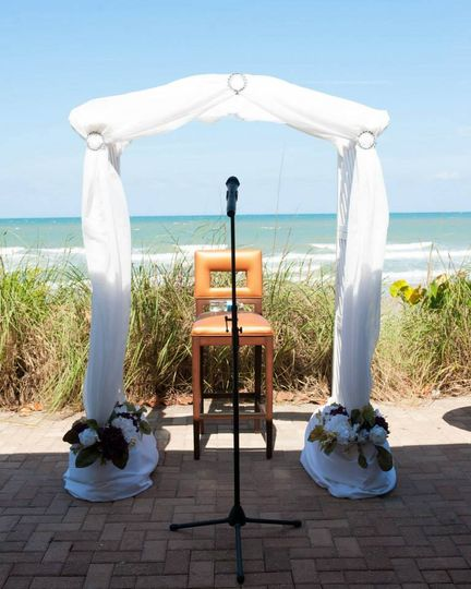 Beach ceremony setting