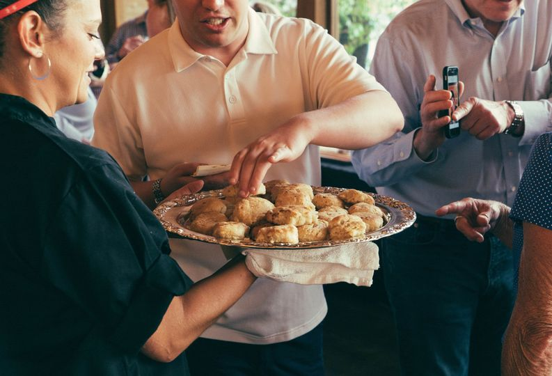 Hand-passed mini bleu cheese biscuits at a wedding reception at our private venue.