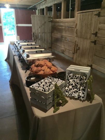 Basic buffet setup at Arrington Farms in Nashville.