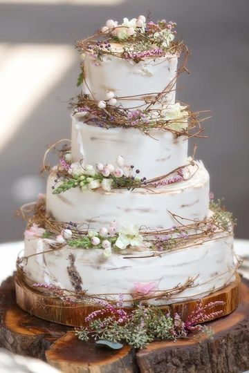 birch bark look cake with handmade sugar berries & succulents. Inn at the Old Silk Mill,...