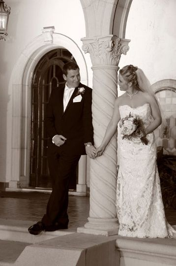 B & W effect of our couple at the Powell - Crosley mansion in Sarasota.